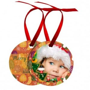 Metal 2.75″ Round Ornament W/ Ribbon double sided
