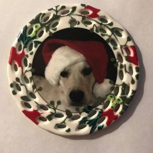 Ceramic Ornament 3in Wreath trim double sided