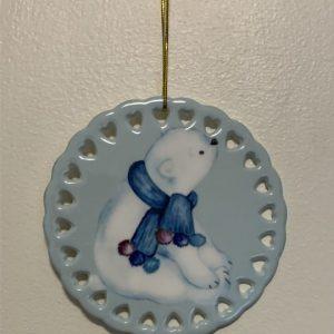 Ceramic 4″ Round Ornament Heart Trim (Single sided)